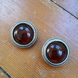 Ben-Amun Silver Amber Signed Clip Earrings